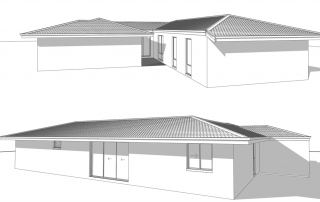 3D rendering sketches of two houses