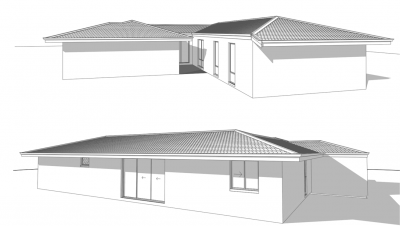 Image of a 3d rendering sketch of two houses