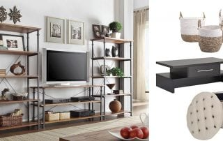 an image which has a TV in the centre along with organized shelves on both sides and also containers