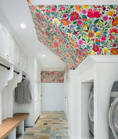 Bright and Colourful Laundry Room/Mudroom by Kitchen Design Concepts in Dallas